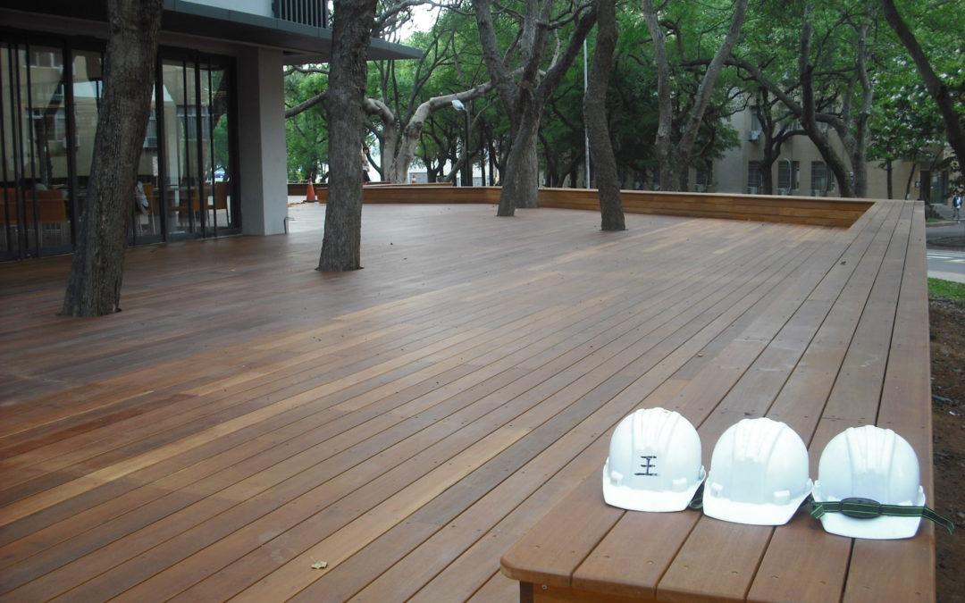 婆羅洲鐵木-交通大學第二餐廳鋼構木平台
