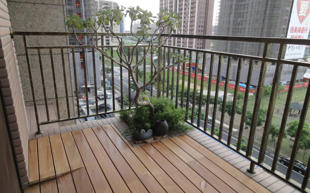 陽台地板-啟程設計私宅陽台地板 南洋櫸木