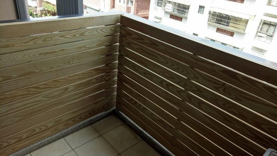 林口私宅陽台欄杆木格柵
