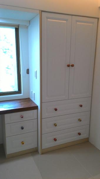 MDF門板櫥櫃 柚木桌板